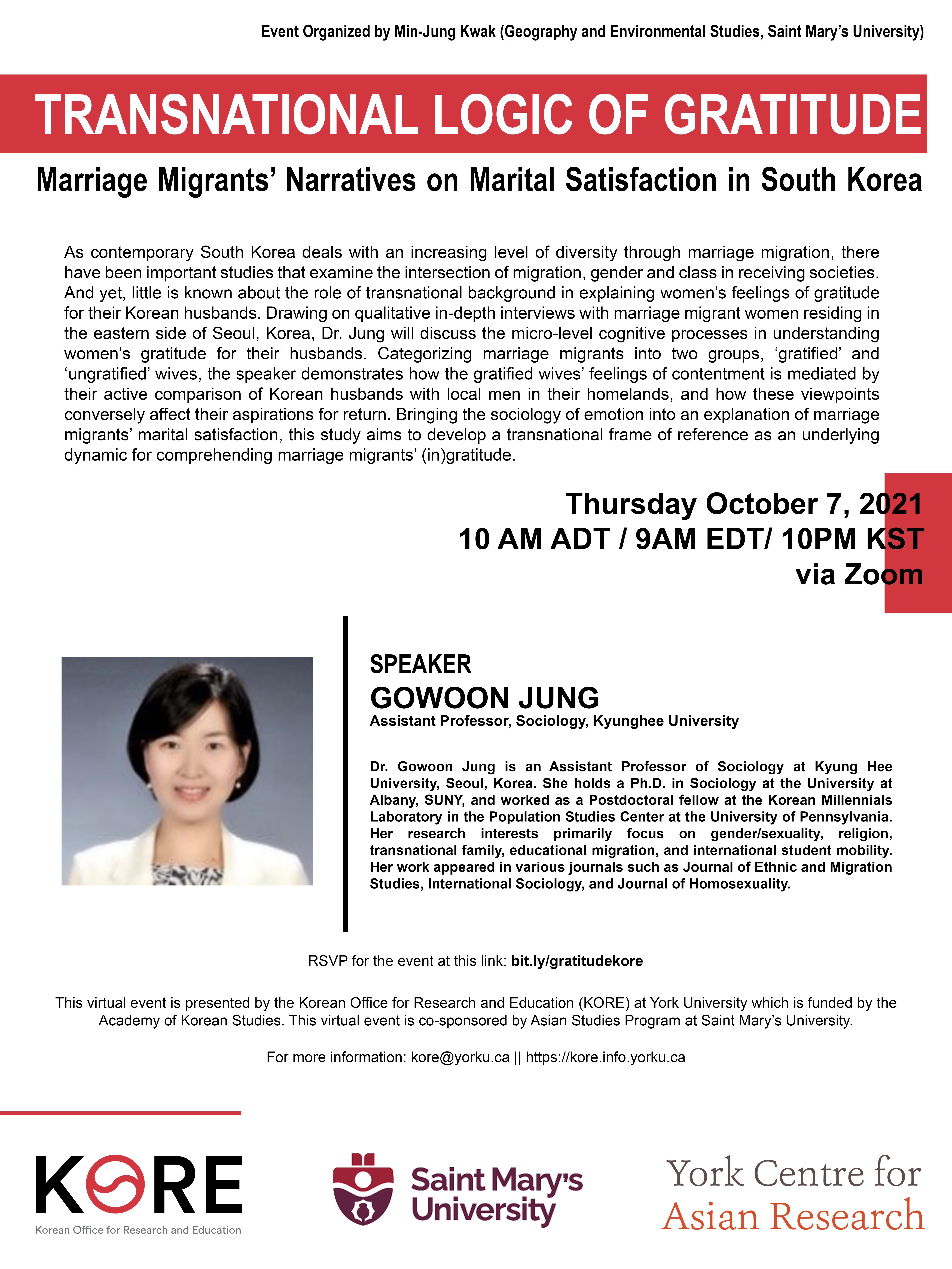 Transnational logic of gratitude:  Marriage migrants' narratives on marital satisfaction in South Korea